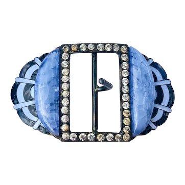 Art Deco Rhinestone, Blue Glass and Enamel Geometric Brass Belt Buckle