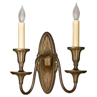 Cast Brass Federal Two Arm Sconce