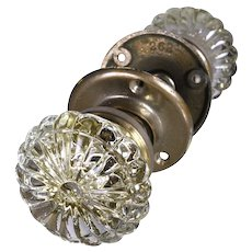 Antique Fluted Glass Scalloped Door Knob Set - multiple available
