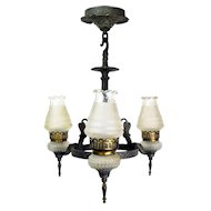Virden Three Light Hammered Chandelier with Shades