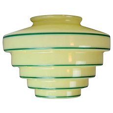 Green Striped Art Deco Glass Shade