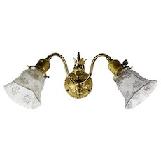 Victorian Two Arm Sconce with Shades