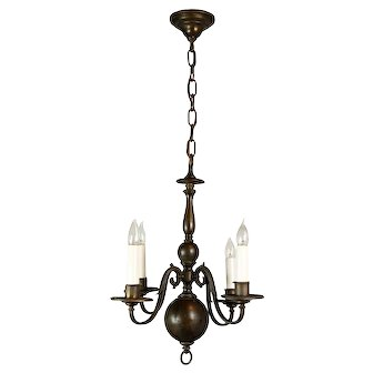 Four Arm Brass Colonial Chandelier