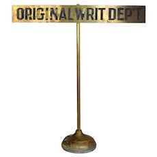 "Brass Department Sign ""Original Writ Dep't"""