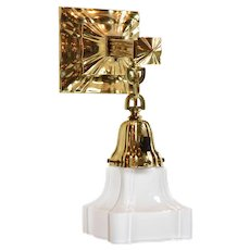 Vintage Polished Brass Sheffield Sconce with Shade