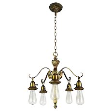 Five Arm Empire Bare Bulb Chandelier