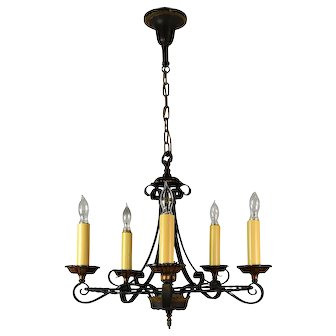 Five Candle Black Polychrome Chandelier