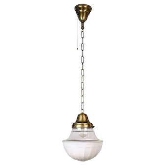 Brass Pendant with Clear and Opaque Shade