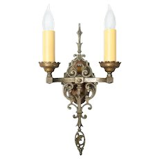 Brass Tudor Two Candle Sconce