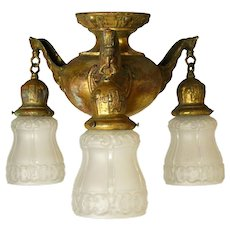 Three Arm Brass Flush Mount with Shades