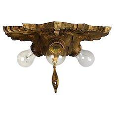Art Deco Cast Brass Three Light Flush Mount