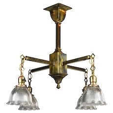 Four Arm Mission Chandelier with Holophane Shades