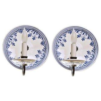 Blue Porcelain Italian Sconce Pair