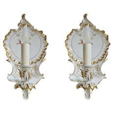 Dresden Style Porcelain Sconce Pair