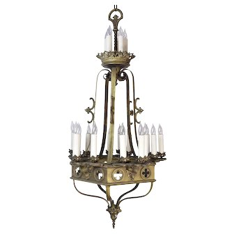 Gothic  20-Candle  Two Tiered Brass Chandelier