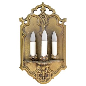Gothic Three Candle Brass Sconce