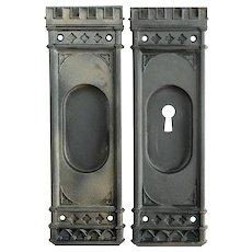 Cast Iron Gothic Pocket Door Hardware Set