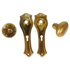 Brass Hardware Set with Floral Knob