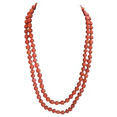 Antique two strand Georgian pinchbeck & coral necklace