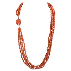 Natural Mediterranean Coral rice beads five strand necklace with antique 14ct gold carved Chinese coral clasp
