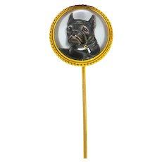 Victorian Painted Reverse Carved Rock Crystal 18 Karat Gold French Bulldog English Stickpin