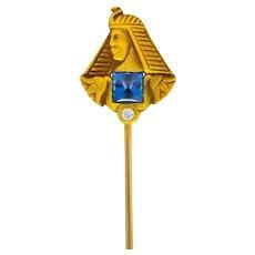 Brassler Co. Egyptian Revival Art Nouveau Sapphire Diamond Pharaoh Stickpin