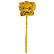 Late Victorian 18 Karat Gold Comedy Mask Stickpin