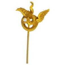 Late Victorian Diamond 14 Karat Gold Basilisk Stickpin