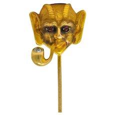 Abel Bros. & Co. Victorian Ruby Diamond 14 Karat Gold Pan Stickpin