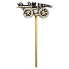 Edwardian Diamond Platinum Gold Antique Car Stickpin