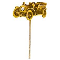 Edwardian Diamond 14 Karat Gold Ford Model T Classic Car Stickpin