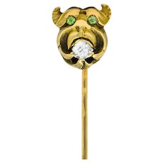 Victorian Diamond Demantoid Garnet 14 Karat Goblin Stickpin