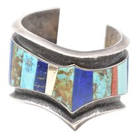 Vintage Sterling Silver Cuff Bracelet Lapis Turquoise Petrified Wood Coral 14K Gold
