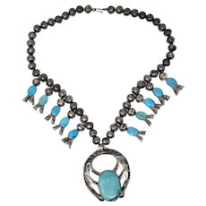Magnificent Vintage Native American Squash Blossom Necklace Sensational Blue Gem Turquoise Sterling Silver Navajo