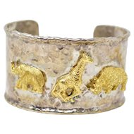 Sterling Silver 18K Gold Elephant Giraffe Rhinoceros Bangle Bracelet
