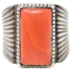 Sterling Silver Handmade Native American J Julian Nez Coral Ring