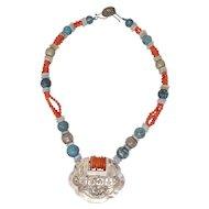 Qing Dynasty Chinese Amulet Pendant Necklace Jade I Coral Beads I  Silver I Turquoise I