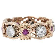 1.15 CTW Diamond Synthetic Ruby Platinum 14 Karat Rose Gold Band Ring