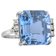 Vintage 1940's Deep Blue 20.35 Carat Aquamarine Diamond & Platinum Cocktail Ring