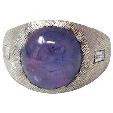 14k White Gold Purple Star Sapphire And Diamond Ring