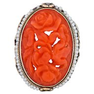 Arts and Crafts Carved Coral & Seed Pearl 14 Karat Green Gold Ring