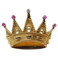 1970's Tiffany and Company Diamond Ruby Crown Brooch