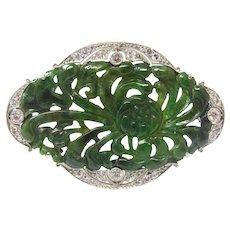 Art Deco Dreicer and Co. Jade Diamond Platinum Brooch