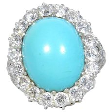 Edwardian J.e. Caldwell Platinum & 18k Turquoise Diamond Ring