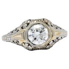 18k White Gold Floral Filigree Art Deco Diamond Engagement Ring