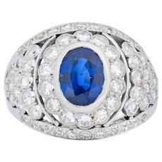 Regal 3.30 CTW Sapphire Diamond Platinum Cluster Band Ring Circa 1950