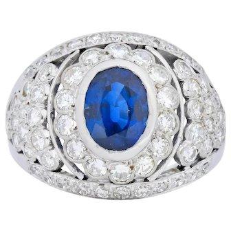 1950's Platinum Diamond Sapphire Dome Ring