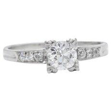 .78 Carat Art Deco Platinum Diamond Engagment Ring