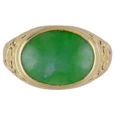 Art Nouveau Burma Jadeite Jade 14k Yellow Gold Cabochon Ring GIA