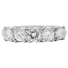 1950's 1.00 CTW Diamond Platinum Wedding Engagement Ring